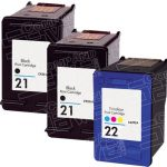 Hewlett Packard C9351AN Black & C9352AN Tri Color (HP 21 & HP 22 Combo-Pack of 3) Replacement Ink Cartridge