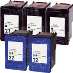Hewlett Packard C9351AN Black & C9352AN Tri Color (HP 21 & HP 22 Combo-Pack of 5) Replacement Ink Cartridge