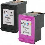 Hewlett Packard (HP 60XL Combo-Pack of 2) CC641WN Black & CC644WN Tri-Color (High Yield) Replacement Ink Cartridge