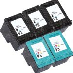 Hewlett Packard HP 92 (C9362WN) Black & HP 93 (C9361WN) Tri Color (Combo Pack of 5) Replacement Ink Cartridge