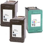Hewlett Packard HP 98 (C9364WN) 2-PK Black & HP 93 (C9361WN) 1-PK Tri Color (Combo Pack of 3) Replacement Ink Cartridge