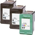 Hewlett Packard HP 94 (C8765WN) 2-PK Black & HP 97 (C9363WN) 1-PK Tri Color (Combo Pack of 3) Replacement Ink Cartridge
