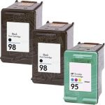 Hewlett Packard HP 98 (C9364WN) 2-PK Black & HP 95 (C8766WN) 1-PK Tri Color (Combo Pack of 3) Replacement Ink Cartridge