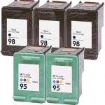 Hewlett Packard HP 98 (C9364WN) 3-PK Black & HP 95 (C8766WN) 2-PK Tri Color (Combo Pack of 5) Replacement Ink Cartridge