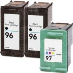 Hewlett Packard HP 96 (C8767WN) 2-PK Black & HP 97 (C9363WN) 1-PK Tri Color (Combo Pack of 3) Replacement Ink Cartridge