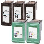 Hewlett Packard HP 96 (C8767WN) 3-PK Black & HP 97 (C9363WN) 2-PK Tri Color (Combo Pack of 5) Replacement Ink Cartridge