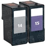 Replacement Lexmark 18C2090 (#14) Black & 18C2110 (#15) Color Combo-Pack of 2 Ink Cartridge