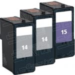 Replacement for Lexmark 18C2090 (#14) Black & 18C2110 (#15) Color Combo-Pack of 3 Ink Cartridge