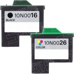 Replacement for Lexmark Bulk Set of 2 High Capacity Ink Cartridges, 1 Black 10N0016 (#16) + 1 Color 10N0026 (#26)