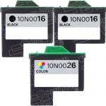 Replacement for Lexmark Bulk Set of 3 High Capacity Ink Cartridges, 2 Black 10N0016 (#16) + 1 Color 10N0026 (#26)