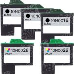 Replacement for Lexmark Bulk Set of 5 High Capacity Ink Cartridges, 3 Black 10N0016 (#16) + 2 Color 10N0026 (#26)