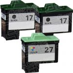 Replacement for Lexmark Bulk Set of 3 Inkjet Cartridges, 2 Black 10N0217 (#17) + 1 Color 10N0227 (#27)