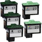 Replacement for Lexmark Bulk Set of 5 Inkjet Cartridges, 3 Black 10N0217 (#17) + 2 Color 10N0227 (#27)