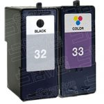Replacement for Lexmark 32 (18C0032) / 33 (18C0033) Black & Color Combo Pack of 2 Ink Cartridge (18C0532)