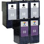 Replacement for Lexmark 32 (18C0032) / 33 (18C0033) Black & Color Combo Pack of 5 Ink Cartridge