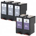 Replacement for Lexmark #36XL (18C2170) & #37XL (18C2180) High Yield Ink Cartridges (Combo-Pack of 5):  3 Black, 2 Color