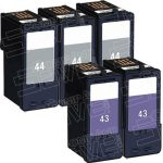 Replacement for Lexmark 18Y0144 (#44XL) Black & 18Y0143 (#43XL) Combo-Pack of 5 High Yield Ink Cartridge