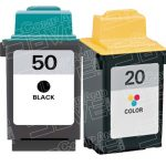 Replacement for Lexmark 17G0050 (#50) Black & 15M0120 (#20) Tri Color Combo-Pack of 2 Ink Cartridge for Lexmark 3100/P3150/P707 Printer