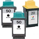 Replacement for Lexmark 17G0050 (#50) Black & 15M0120 (#20) Tri Color Combo-Pack of 3 Ink Cartridge for Lexmark 3100/P3150/P707 Printer