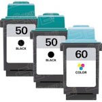 Replacement for Lexmark 17G0050 Black & 17G0060 Tri Color (Lexmark #50 #60 Combo Pack of 3) Ink Cartridge