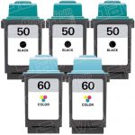Replacement for Lexmark 17G0050 Black & 17G0060 Tri Color (Lexmark #50 #60 Combo Pack of 5) Ink Cartridge