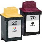 Replacement for Lexmark 12A1970 (#70) Black & 15M0120 (#20) Tri Color Combo-Pack of 2 Ink Cartridge