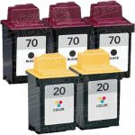 Replacement for Lexmark 12A1970 (#70) Black & 15M0120 (#20) Tri Color Combo-Pack of 5 Ink Cartridge