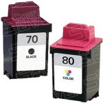 Replacement for Lexmark 12A1970 (#70) Black & 12A1980 (#80) Tri Color Combo-Pack of 2 Ink Cartridge