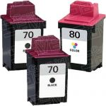 Replacement for Lexmark 12A1970 (#70) Black & 12A1980 (#80) Tri Color Combo-Pack of 3 Ink Cartridge