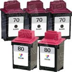 Replacement for Lexmark 12A1970 (#70) Black & 12A1980 (#80) Tri Color Combo-Pack of 5 Ink Cartridge
