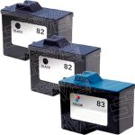Replacement for Lexmark 18L0032 (#82) Black & 18L0042 (#83) Tri Color Combo-Pack of 3 Inkjet Cartridge
