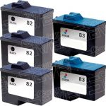 Replacement for Lexmark 18L0032 (#82) Black & 18L0042 (#83) Tri Color Combo-Pack of 5 Inkjet Cartridge