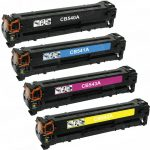 Replacement for HP CB540A CB541A CB543A CB542A (Combo Pack of 4) Laser Toner Cartridge for Hewlett Packard (HP 125A) CM1312/CP1215/CP1515