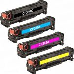 Replacement for HP (HP 312X / 312A) Color Set – CF380X High Yield Black, CF381A Cyan, CF383A Magenta, CF382A Yellow Toner Cartridge