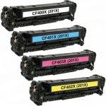 Replacement for (HP 201X) High Yield Laser Toner Cartridge for Hewlett Packard Printers (Color Set of 4): 1 each of CF400X, CF401X, CF402X & CF403X