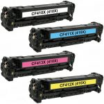 Replacement for HP (410X) High Yield Laser Toner Cartridge (Color Set of 4): 1 each of CF410X, CF411X, CF412X, CF413X