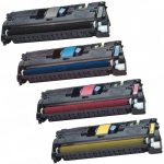 Replacement Color Laser Toner Cartridge for Hewlett Packard HP 122A (Set of 4): 1 each of Q3960A Black, Q3961A Cyan, Q3963A Magenta & Q3962A Yellow