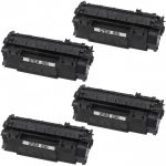 Replacement High Yield Black Laser Toner Cartridge for Hewlett Packard (HP) Q7553X – (53X) (Combo Pack of 4)
